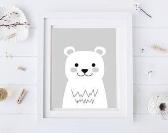 Animal Nursery Decor - Bear Nursery Art - Bear Artwork - Kids Wall Art - Digital Prints - Instant Download - Grey Animal Art - Animal Art