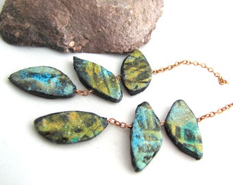 Polymer Triple Leafy Chain Danglies Earring Components Lightweight Teal Green, Golden, Aqua Black Textured On Small Copper Chain pair (2)