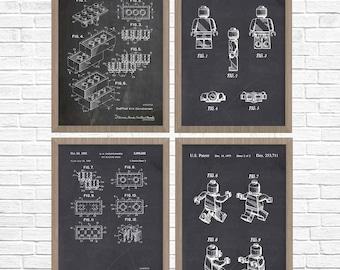 Lego Art, Nursery Art, Boys Room, Lego Print, Lego Patent Collection, Lego Patent Print Set Of 4, Lego Poster, Lego Movie, Boy's Room Art