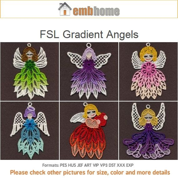 Stand Alone Embroidery Designs : Fsl gradient angels free standing lace machine