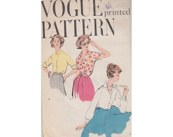 Easy 1950s Blouse Size 16 Bust 36 Vogue Sewing Pattern 9485 Extended Front May Be Tied at Waist/Long Sleeves /Above Elbow or Short Sleeves