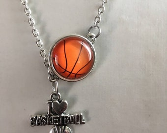 Basketball set: necklace, earrings and ring.