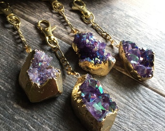 Crystal Keychain,Amethyst Keychain Gold,February Birthstone,Gemstone Keychain Gold,Ladies Keychain,Boho Keychain,Purple Crystal Keychain