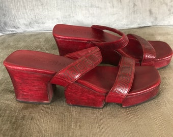 Cole Haan red wooden platform mules