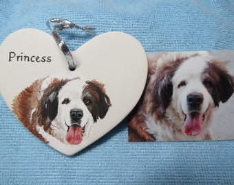 Pet Portrait or Memorial Hand painted Ceramic Made to Order Using Your Photo any animal St Bernard  by Shannon Ivins