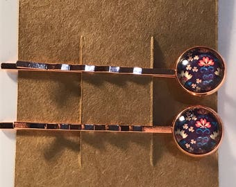 Pretty flowers on rose gold Bobby Pin Set