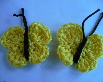 set of 2 crochet butterfly, customisation textile applique butterflies