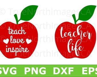 Teacher Life SVG / Teacher SVG / Apple SVG / Apple Vector / Teacher svg Files / svg Teacher Apple Download / svg Files for Cricut