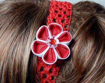 White/red kanzashi flower headband