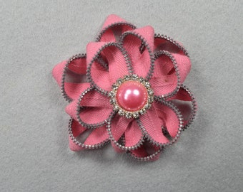 Pink Brooch, Barrette, Clip, or Headband, Zipper Pin, Zipper Art, Flower Pin, Flower Headband, Flower Clip, Upcycled, Recycled, Repurposed
