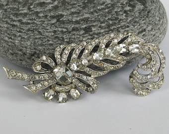 Large Vintage Joseph Wiesner Brooch NY,  Clear Rhinestones / Crystals, Signed, 50s, Floral, Silver Tone Metal