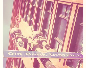 as seen on Modern Family, downtown LA photography, Old Bank district sign, Los Angeles photo, loft decor, urban architecture iron lamp post