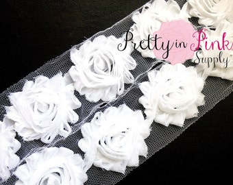 WHITE  Shabby Rose Trim - Shabby Chiffon Rosettes - 1/2 Yard or 1 Yard - Shabby Flower Trim - Wholesale Shabby Flower - Chiffon Flower