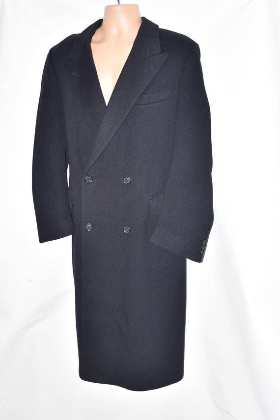 Vintage Size Navy Button Overcoat Wool Coat Military Length Double Breasted Knee WERTHER Men's XL AA7rqw