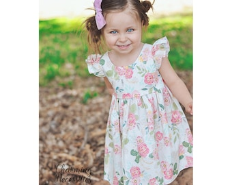 Ivory Pink Green Floral Dress, Toddler Girls Dress, Girls Special Occasion, Birthday Party Dress, Flutter Sleeve Pinafore, Baby Girl Clothes