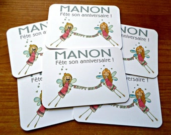 Set of 10 personalised birthday invitations with envelopes 10cm x 15cm