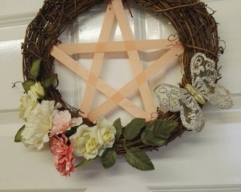 Medium pentagram decorative hanging wreath pagan wiccan witchcraft
