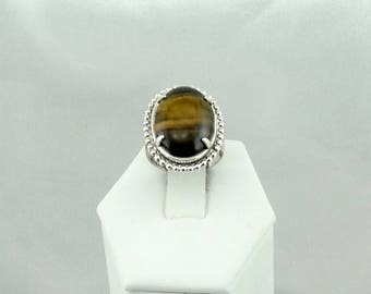 Beautiful Decorative Vintage Sterling Silver Yellow Tiger Eye Cabochon Ring Size 6 1/4  #TIGER-SR4