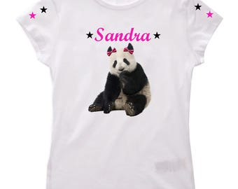 Girl Panda personalized with name t-shirt