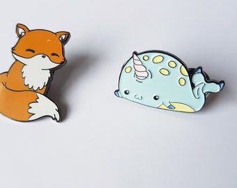 Seconds enamel pin, fox, narwhal, cute lapel pin, collar pin, kawaii enamel pin, cute pin, fox pin, narwhal pin, pastel goth