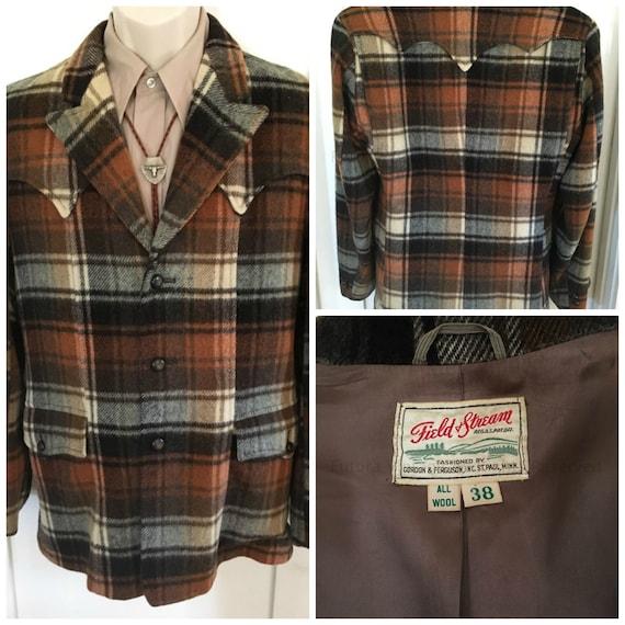 1950s Fantastic FIELD and STREAM Shadow Plaid Western Wear Sport Coat Jacket Fully Lined-Sz 38