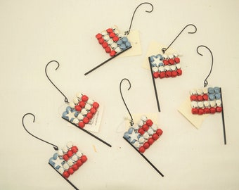 THT Patriotic Decor - Red White Blue Bell Flag Ornaments 6pc