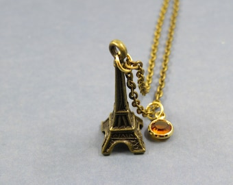 eiffel tower in Paris necklace - birthstone Personalized - eiffel tower gift - charms eiffel tower - collier tour eiffel Paris