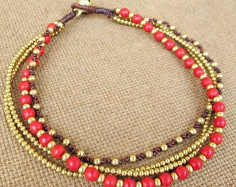 Multi Line Red Coral Brass Bead  Beaded Ankle Bracelet
