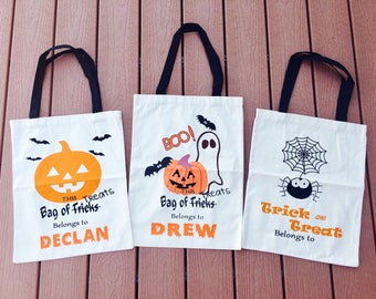 Personalized Halloween Bags, Canvas bags, Trick or Treat Bags, Bags with kids name, Halloween Bag, Halloween Sack, Trick or Treat Sack