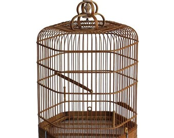 30%OFF SALE Chinese Oriental Hexagon Shape Bamboo Wood Birdcage Display cs3649AE