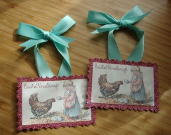 Vintage Easter postcard paper ornaments Cute little girl and chicken Easter gift tags glittered victorian farmhouse home decor