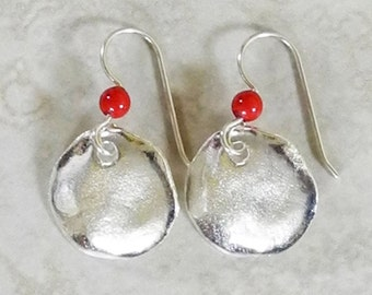 Large Silver Charm Earrings with Coral Pearl - Silver and Pearl Earrings - Coral Earrings - Round Silver Earrings - Roca Jewelry Designs