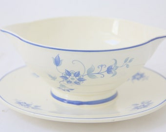 Vintage Société Ceramique Maestricht Sauce Bowl with Blue Flower Decor, Made in Holland