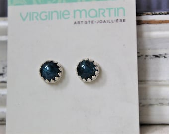Sterling silver and Blue Apatite Studs Earrings - Handmade jewelry
