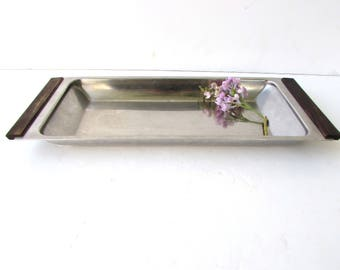 Mid Century Modern Tray - Stainless and Wood - Teak - Vintage - Danish Modern Serving Bowl - Stainless Steel -