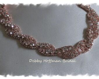 Rose Gold Bridal Headband, Rose Gold Rhinestone Wedding Headpiece, Jeweled Rose Gold Hair Piece, Rose Gold Wedding Headband, No. 5050RGHB