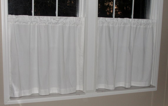 Kaufman Premium Kona All White Cafe Curtains 80 Wide X