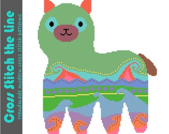 Contemporary cross stitch pattern. Modern cross stitch design of an alpaca. Fun embroidery design for the nursery. 'Alpaca piñata'