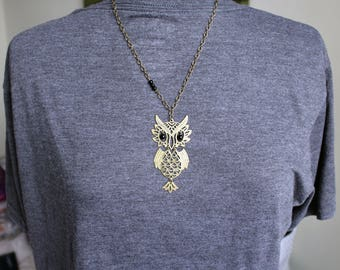 Bronze and Black Owl Pendant Necklace