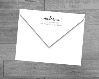 Custom Wood Mounted or Self Inking Return Address Stamp (Calligraphy Name)
