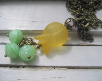 Goldenrod Lucite flower pendant necklace, mint green rosebud dangles, vintage pink rhinestones, brass chain necklace