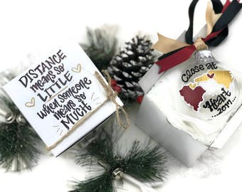 Hand Painted State to State Close at Heart Ornament with Gift Box - Best Friend or Family Long Distance Christmas Gift