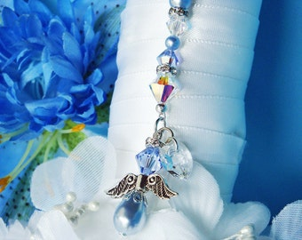 Something Blue Angel Bouquet Charm Swarovski Crystal Bridal Bouquet Charm