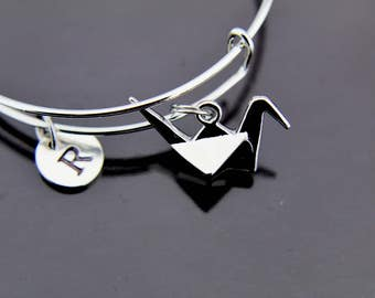 Origami Crane Bangle, Origami Crane Bracelet, Silver Bird Charm, Expandable Bangle, Personalized Bracelet, Initial Bracelet, Initial Bangle