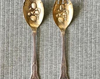 Kings Silverplate Sheffield England EPNS A1 Berry Salad Serving Fork and Spoon with Gold Wash