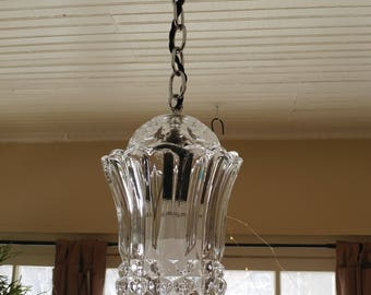 Vintage 1930s/40s Ceiling Pendant Fixture - Beautiful Pressed Glass and Chrome! - Ready to Use!
