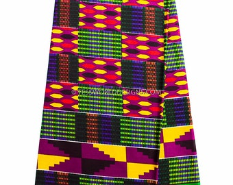 Kente cloth print 6 yards/ African fabric Wholesale/ Kente print fabric/ Kente fabric/ Kente print / African fabric/ Green, purple May KF291