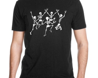 Dancing Skeletons Men's Black T-shirt, Grateful Dead t-shirt, glo-in-the-dark, graphic tee, Art T-shirt