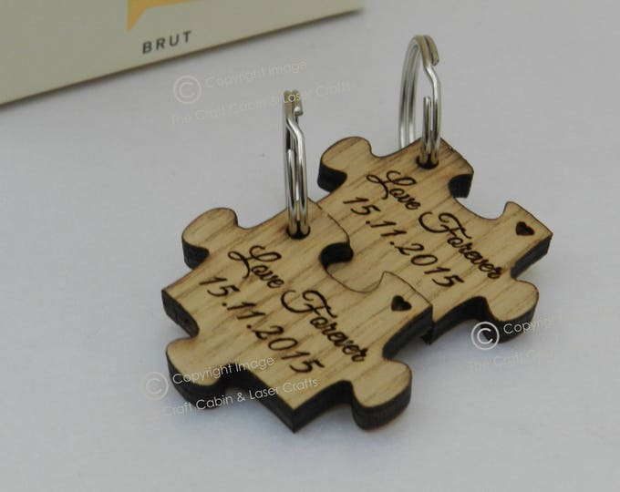 Personalised Mr & Mrs Couples Wooden Puzzle Key ring set. Valentines Day Gift. Wedding Gift Idea, Anniversary Gift