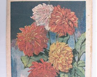 1948, French review, RUSTICA, Plant dahlias, antique French flower illustration, Dahlias